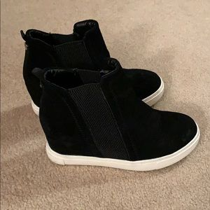 Steve Madden suede black wedge sneakers booties, 7